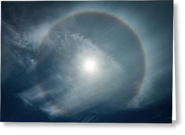 Greeting Card featuring the photograph 22 Degree Solar Halo by William Lee