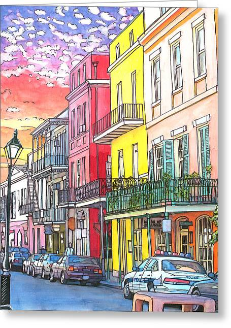 22  Fiery Sunset With Red And Yellow Buildings Greeting Card by John Boles