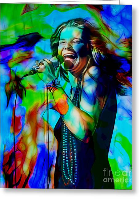 Janis Joplin Collection Greeting Card by Marvin Blaine