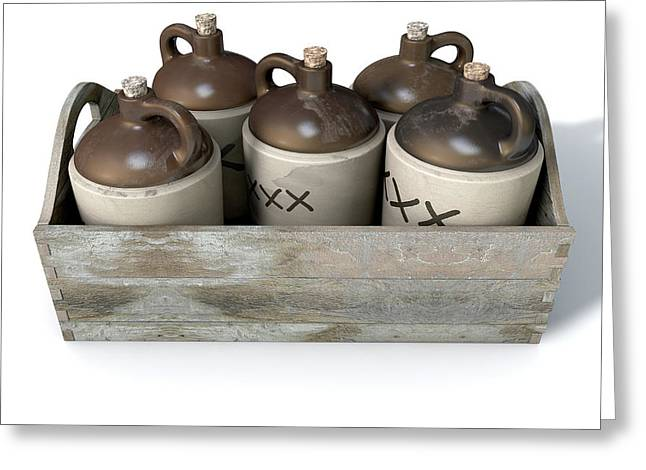Moonshine In Wooden Crate Greeting Card