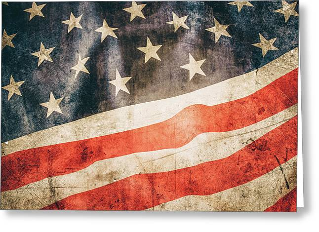 Greeting Card featuring the photograph American Flag by Les Cunliffe