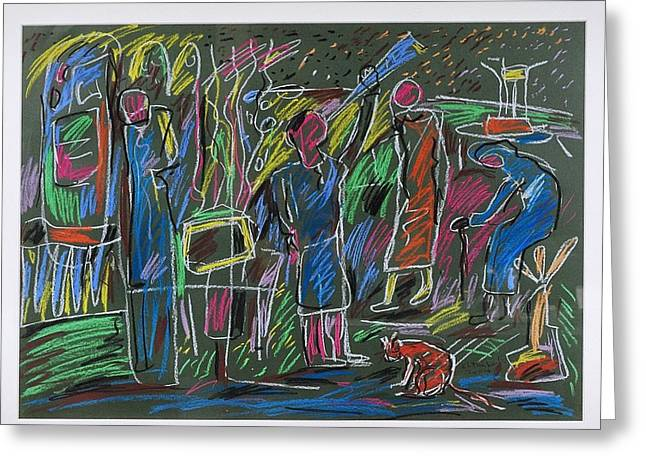 Event Pastels Greeting Cards - Painting Greeting Card by Ibrahim El tanbouli