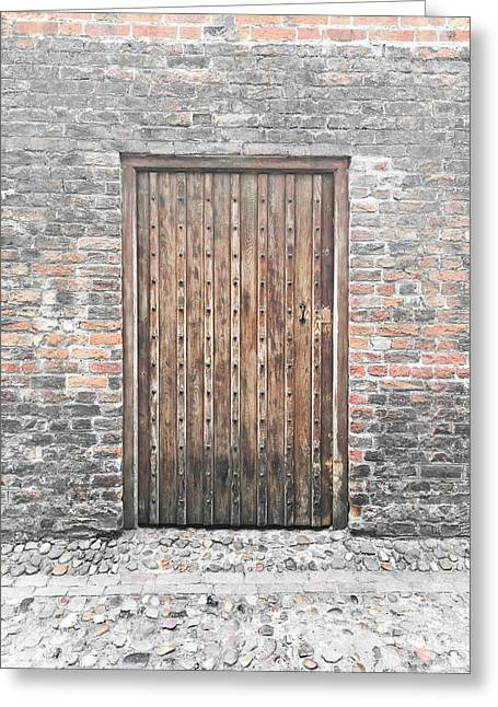 Wooden Door Greeting Card by Tom Gowanlock