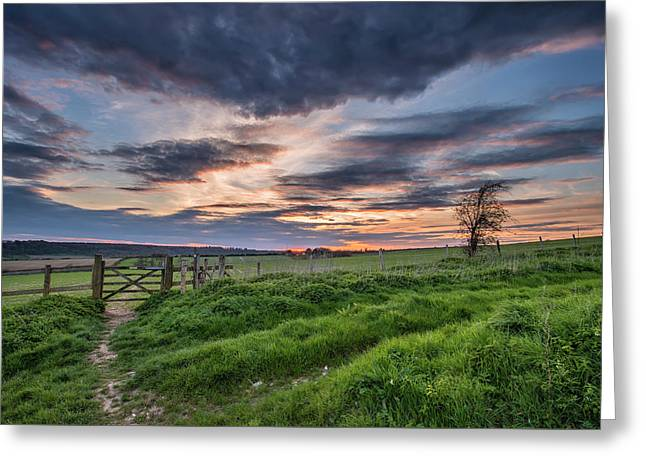 Beautiful English Countryside Landscape Over Fields At Sunset Greeting Card by Matthew Gibson