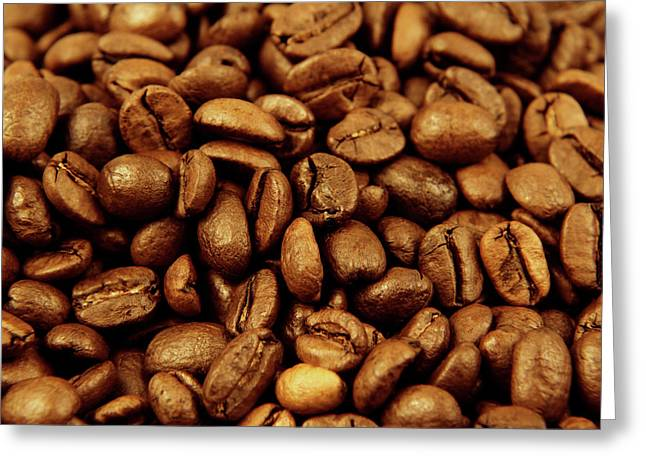 Greeting Card featuring the photograph Coffee Beans by Les Cunliffe