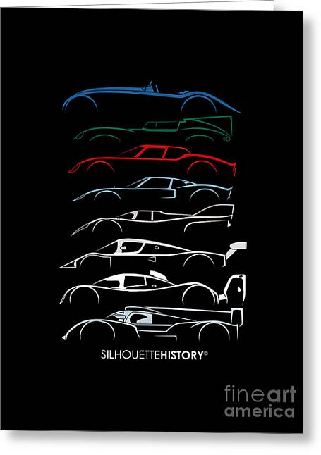 24 Hours Race Cars Silhouettehistory Greeting Card by Gabor Vida