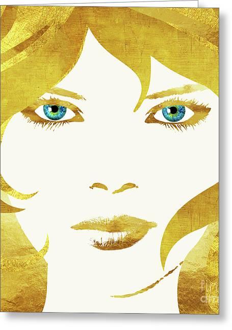 24 Karat Babe, Woman In Gold Fashion Art Greeting Card