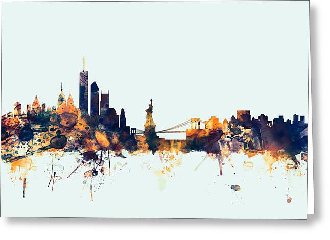 New York Skyline Greeting Card by Michael Tompsett