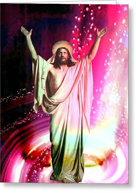 Jesus Christ - Religious Art Greeting Card by Elena Kosvincheva