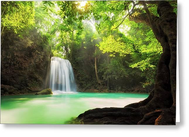 Erawan Waterfall  Greeting Card by Anek Suwannaphoom