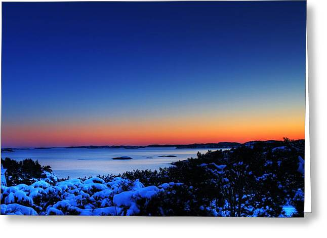 25059 Travel Sunset Over Southern Norway  Greeting Card