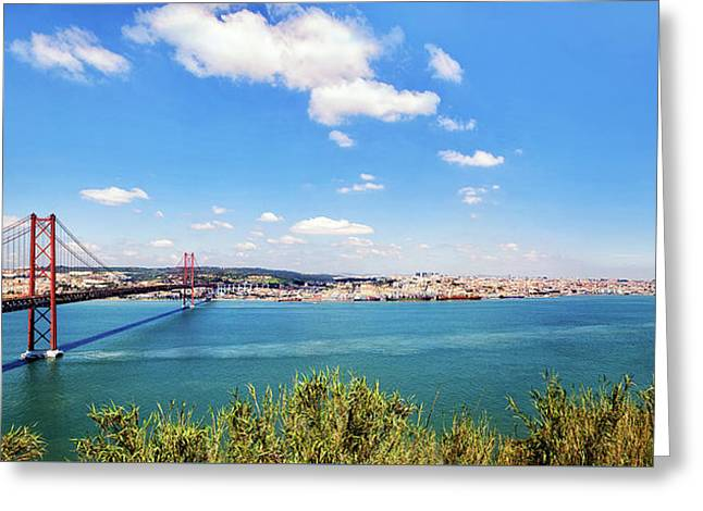 Greeting Card featuring the photograph 25th April Bridge Lisbon by Marion McCristall