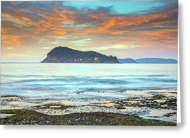 Sunrise Seascape With Clouds Greeting Card