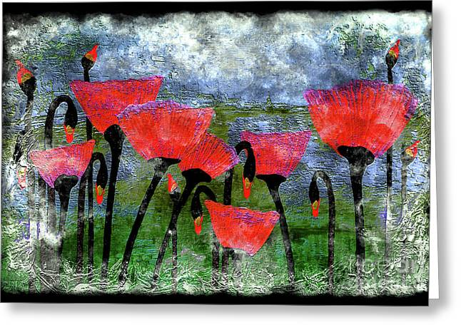 26a Abstract Floral Red Poppy Painting Greeting Card