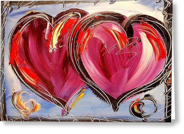 Hearts Greeting Card by Mark Kazav