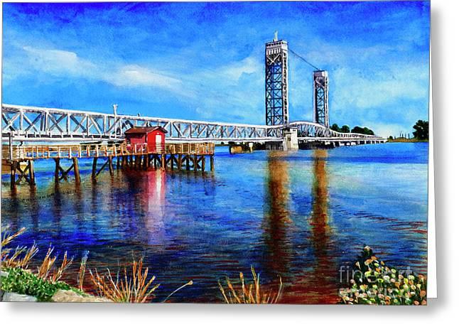 #273 Rio Vista Bridge Greeting Card by William Lum