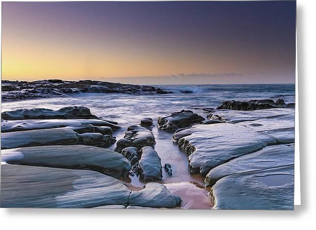 Sunrise Seascape And Rock Platform Greeting Card