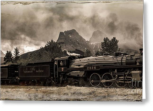 Greeting Card featuring the photograph 2816 Empress At Three Sisters - Canmore by Brad Allen Fine Art