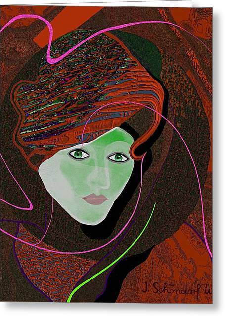 289 - Anna  With  Dark Red Cap Greeting Card by Irmgard Schoendorf Welch