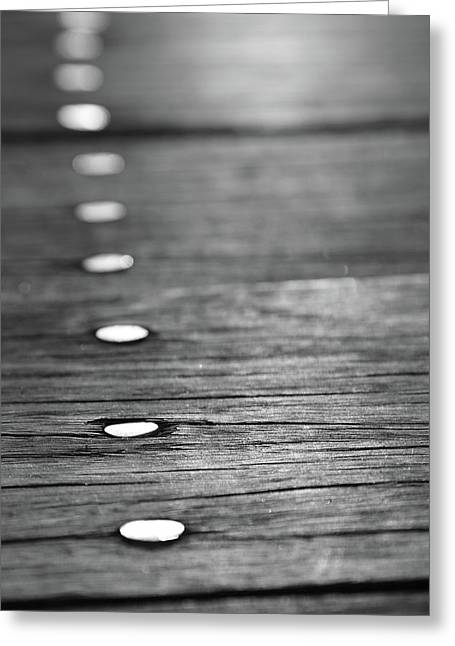 Detail Of Nails On Boardwalk Greeting Card