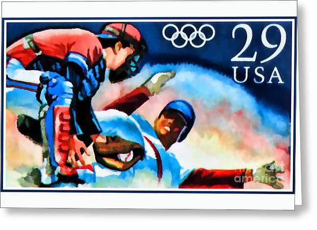 29c Olympic Baseball Greeting Card by Lanjee Chee
