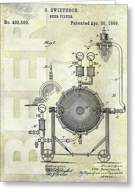 1889 Beer Filter Patent Greeting Card by Jon Neidert