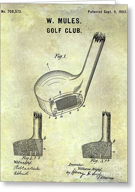1902 Golf Club Patent Greeting Card by Jon Neidert