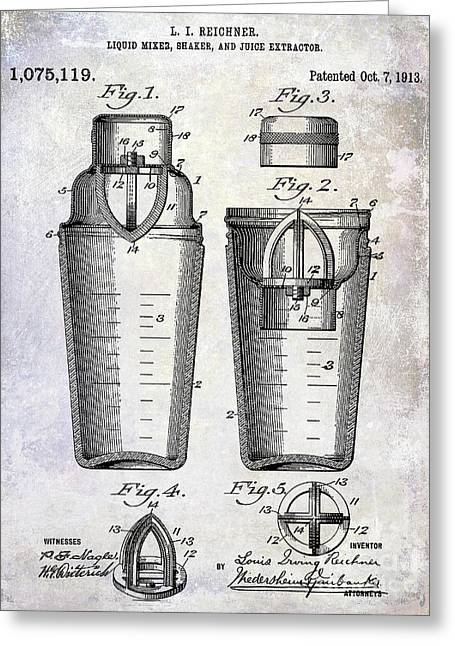 1913 Cocktail Shaker Patent Greeting Card by Jon Neidert