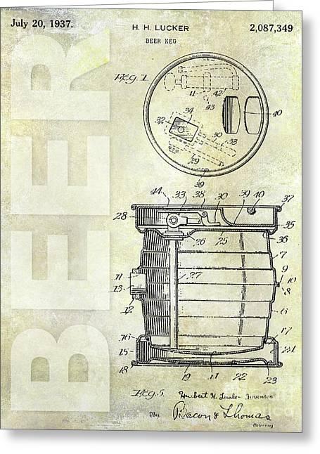 1937 Beer Keg Patent Greeting Card