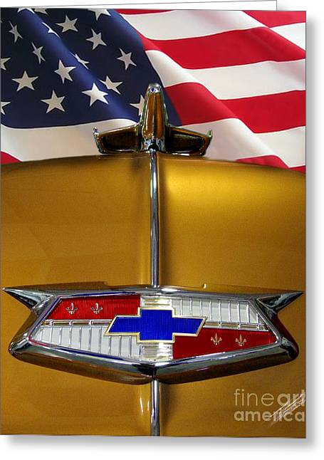 1954 Chevrolet Hood Emblem Greeting Card by Peter Piatt