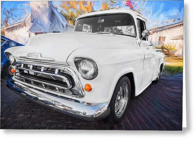 1957 Chevy Pick Up Truck 3100 Series Painted  Greeting Card by Rich Franco