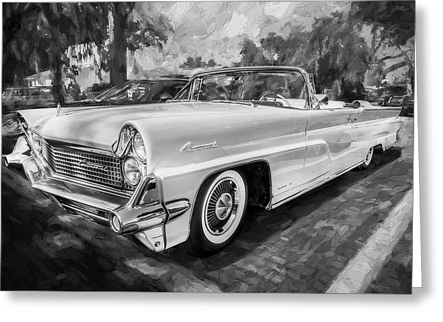 1959 Lincoln Continental Town Car Mk Iv Painted Bw   Greeting Card by Rich Franco