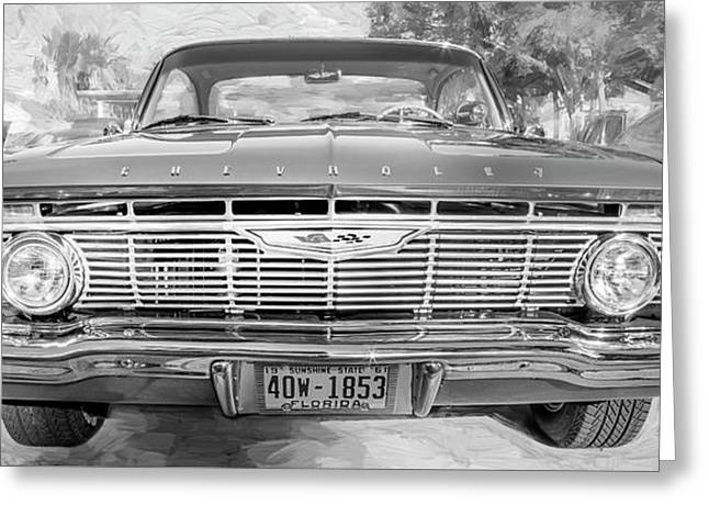 Greeting Card featuring the photograph 1961 Chevrolet Impala Ss Bw by Rich Franco