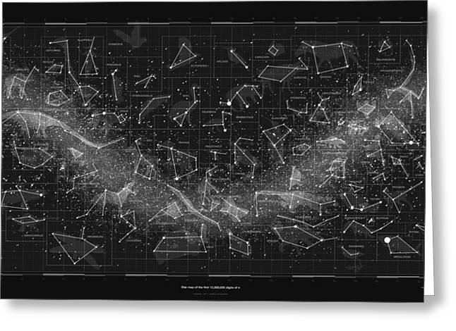 2017 Pi Day Star Chart Carree Projection Greeting Card