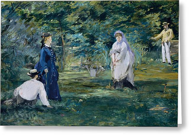 A Game Of Croquet Greeting Card by Edouard Manet