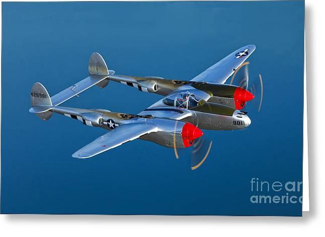 A Lockheed P-38 Lightning Fighter Greeting Card by Scott Germain