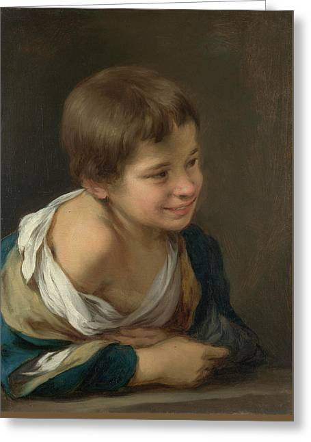 A Peasant Boy Leaning On A Sill Greeting Card