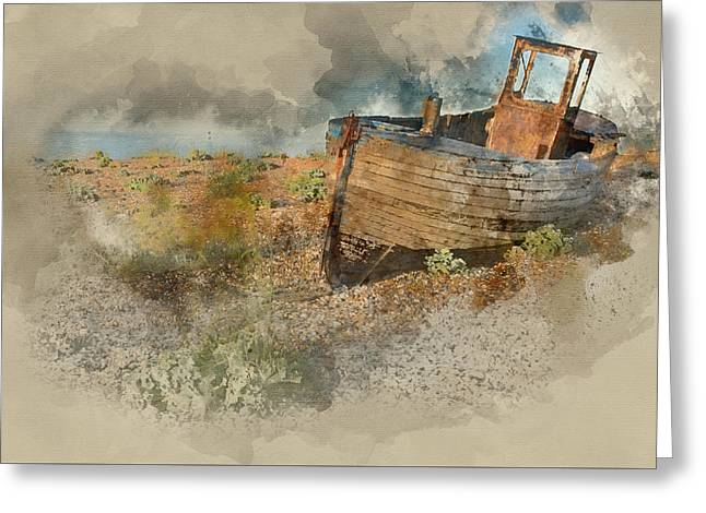 Abandoned Fishing Boat On Beach Landscape At Sunset Greeting Card