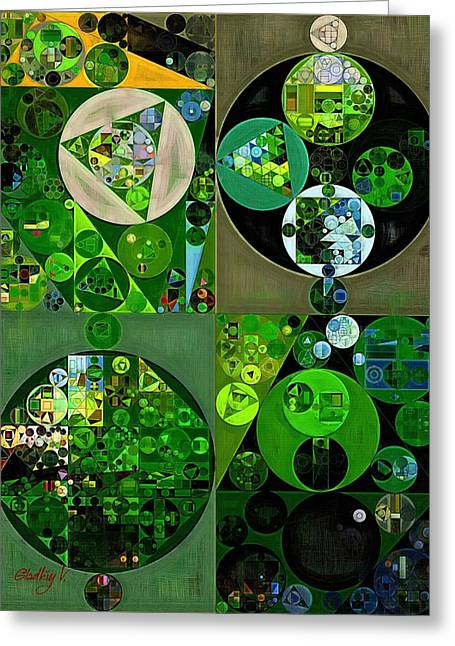 Abstract Painting - Sap Green Greeting Card
