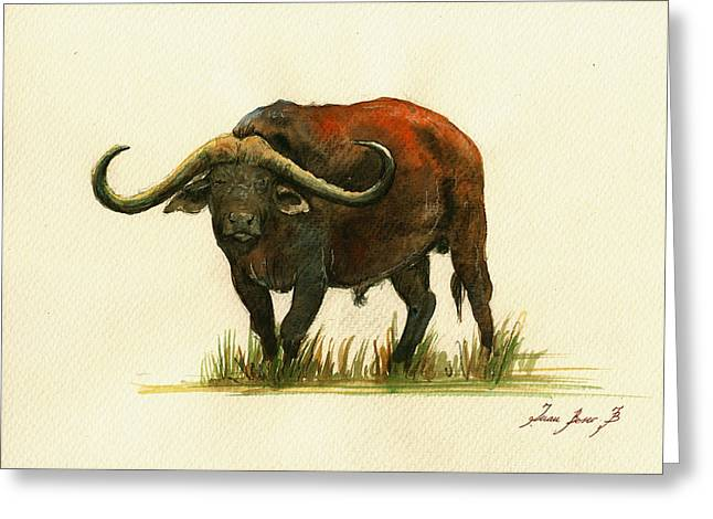 African Buffalo Watercolor Painting Greeting Card by Juan  Bosco