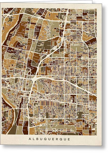 Albuquerque New Mexico City Street Map Greeting Card