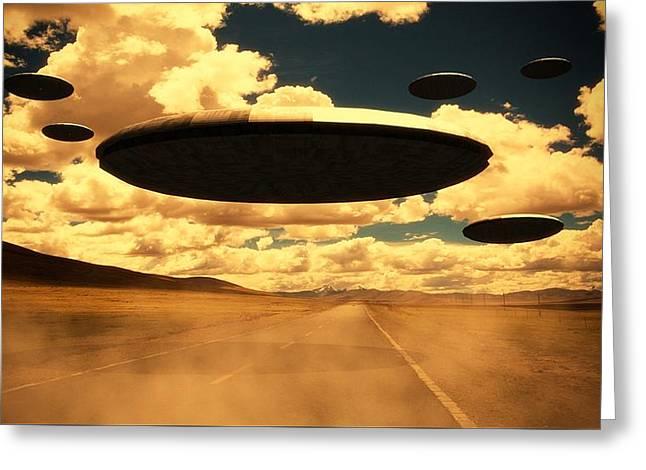 Alien Invasion By Raphael Terra Greeting Card by Raphael Terra