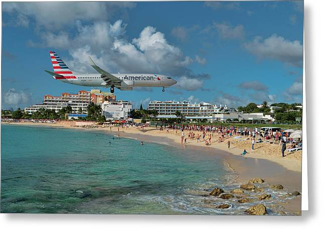 American Airlines At St. Maarten Greeting Card
