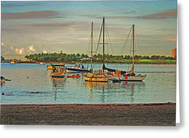Greeting Card featuring the digital art 3- Anchored Out by Joseph Keane
