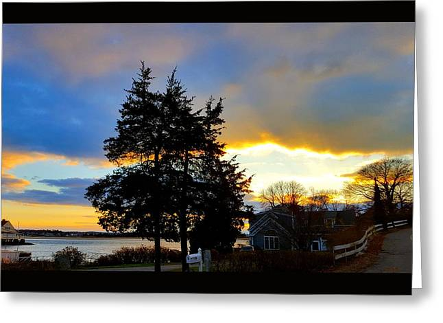 Annisquam Winter Sunset Greeting Card by Harriet Harding