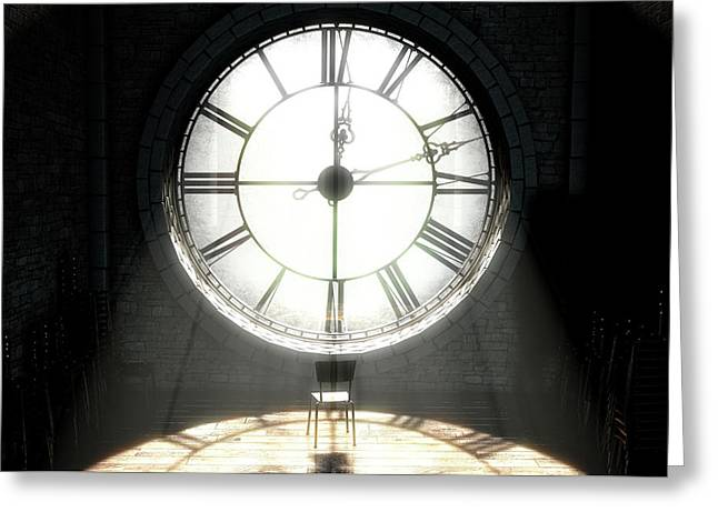 Antique Backlit Clock And Empty Chair Greeting Card