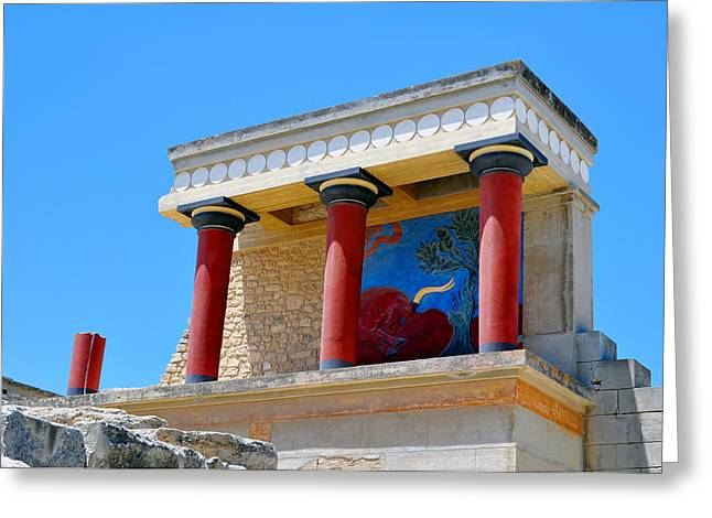 Archaeological Site Of Knossos. Minoan Palace. Crete. Greeting Card by Fernando Barozza