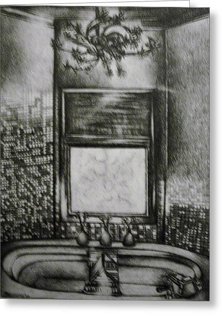 Architectural Bathroom Rendering Greeting Card