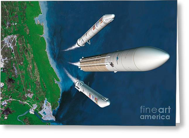 Ariane 5 Rocket Launch, Artwork Greeting Card by David Ducros