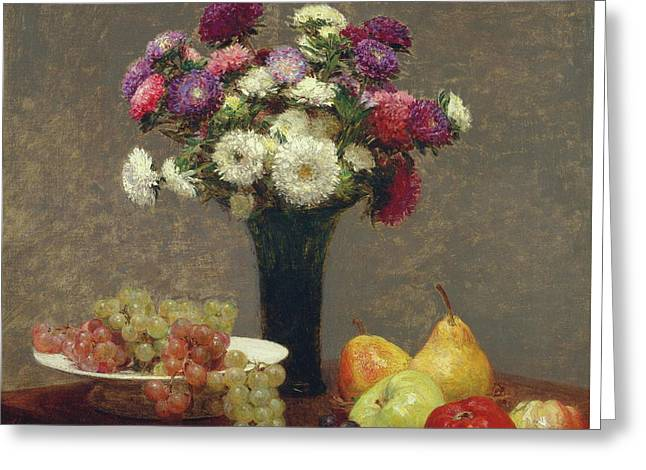 Asters And Fruit On A Table Greeting Card by Henri Fantin-Latour